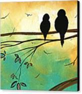 Love Birds By Madart Canvas Print by Megan Duncanson