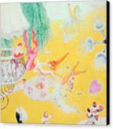 Love Flight Of A Pink Candy Heart Canvas Print by  Florine Stettheimer