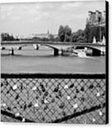 Love Locks Over The Seine Canvas Print by Carol Groenen