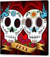 Love Skulls Canvas Print by Tammy Wetzel