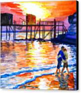 Lovers On Strand Canvas Print
