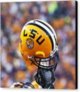 Lsu Helmet Raised High Canvas Print by Louisiana State University