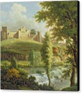 Ludlow Castle With Dinham Weir Canvas Print by Samuel Scott