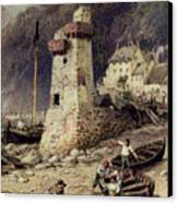 Lynmouth In Devonshire Canvas Print by Myles Birket Foster
