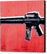 M16 Assault Rifle On Red Canvas Print by Michael Tompsett