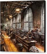 Machinist - A Room Full Of Lathes  Canvas Print by Mike Savad