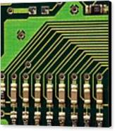 Macro Image Of A Computer Motherboard Canvas Print by Yali Shi