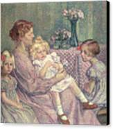Madame Van De Velde And Her Children Canvas Print by Theo van Rysselberghe