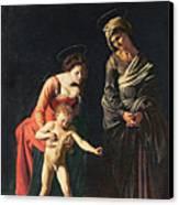 Madonna And Child With A Serpent Canvas Print by Michelangelo Merisi da Caravaggio