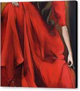 Magnolia's Red Dress Canvas Print by Jacque Hudson