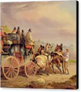 Mail Coaches On The Road - The 'quicksilver'  Canvas Print