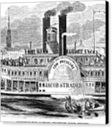 Mail Steamboat, 1854. /nthe Louisville Mail Company Steamboat Jacob Strader. Wood Engraving, 1854 Canvas Print