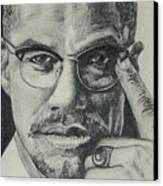 Malcolm X Canvas Print by Stephen Sookoo