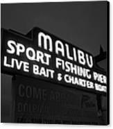 Malibu Pier Sign In Bw Canvas Print by Glenn McCarthy Art and Photography