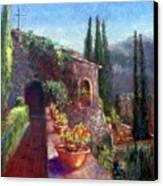 Mallorcan Monastery Canvas Print by Shirley Leswick