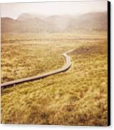 Man On Expedition Along Cradle Mountain Boardwalk Canvas Print