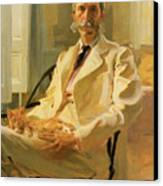 Man With Cat Canvas Print by Cecilia Beaux
