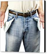 Man With Empty Pockets Canvas Print