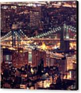 Manhattan And Brooklyn Bridges Canvas Print by Rob Kroenert
