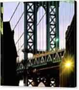 Manhattan Bridge And Empire State Building Canvas Print