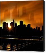 Manhattan Silhouette Canvas Print by Svetlana Sewell