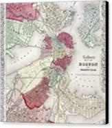Map: Boston, 1865 Canvas Print by Granger