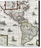 Map Of The Americas Canvas Print by Henricus Hondius