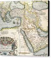 Map Of The Middle East From The Sixteenth Century Canvas Print by Abraham Ortelius