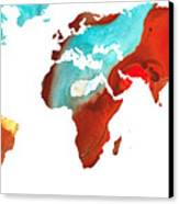 Map Of The World 4 -colorful Abstract Art Canvas Print