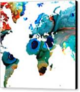 Map Of The World 6 -colorful Abstract Art Canvas Print by Sharon Cummings