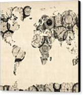 Map Of The World Map From Old Clocks Canvas Print by Michael Tompsett