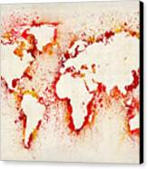 Map Of The World Paint Splashes Canvas Print by Michael Tompsett