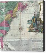 Map Showing The 13 British Colonies Canvas Print