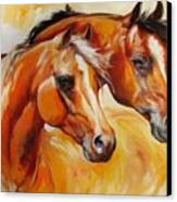 Mare And Stallion  By M Baldwin Sold Canvas Print by Marcia Baldwin