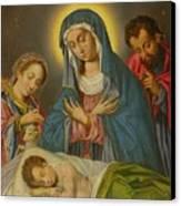 Maria San Jose Y Santa Ines Contemplando Al Nino Canvas Print