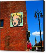 Marilyn Monroe In Detroit Canvas Print by Guy Ricketts
