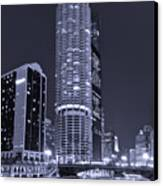 Marina City On The Chicago River In B And W Canvas Print