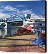 Market Street Bridge With The Delta Queen From Coolidge Park Canvas Print