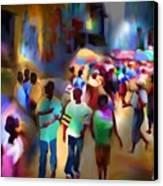 Marketplace At Night Cap Haitien Canvas Print by Bob Salo