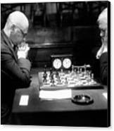 Mature Men Playing Chess, Profile (b&w) Canvas Print by Hulton Archive