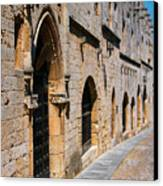 Medievil Town In Rhodes Canvas Print by Sandra Bronstein