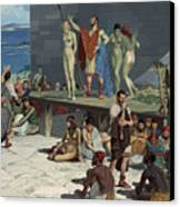 Men Bid On Women At A Slave Market Canvas Print by H.M. Herget