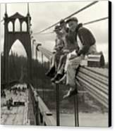 Men On Bridge Canvas Print