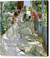 Mending The Sail Canvas Print by Joaquin Sorolla y Bastida