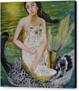 Mermaid And Swan Canvas Print