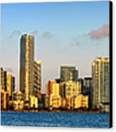 Miami Skyline In Morning Daytime Panorama Canvas Print