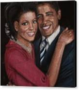 Michelle And Barack Canvas Print by Diane Bombshelter