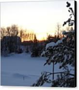 Mid January Winter Sunrise Canvas Print by Kent Lorentzen