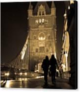 Midnight Stroll Over The Bridge Canvas Print