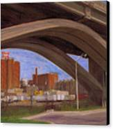 Miller Brewery Viewed Under Bridge Canvas Print